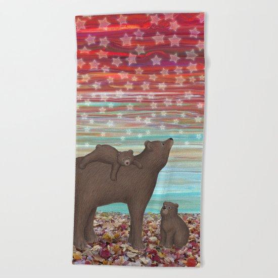brown bears and stars Beach Towel