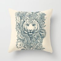 decorative Throw Pillows featuring Tiger Tangle by micklyn