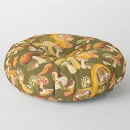 70s Mushroom, Retro Pattern Floor Pillow
