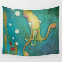 squid Wall Tapestries featuring Squid by Monica O