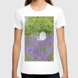 White Chair in a Field of Purple Lavender Flowers T-shirt
