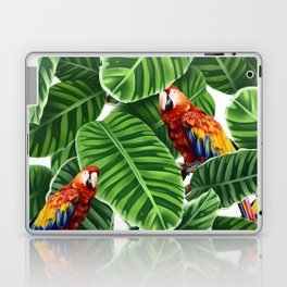 tropical leaves macaw pattern Laptop & iPad Skin