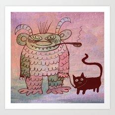 evil sorcerer with his cat Art Print