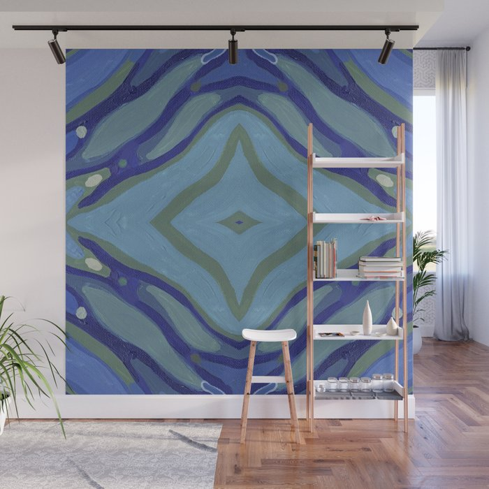 Blue Wave Nautical Medallion Wall Mural