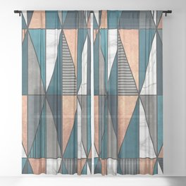 Copper, Marble and Concrete Triangles with Blue Sheer Curtain