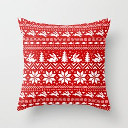 Bunnies Holiday Patterm Throw Pillow