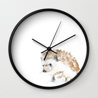 hedgehog Wall Clocks featuring Hedgehog by Susan Windsor