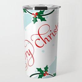 Merry Christmas with Holly Berries corners Travel Mug