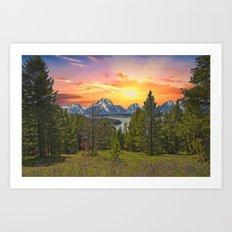 Grand Teton Sunset Art Print