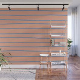 Dusky Sky Blue 27-23 Hand Drawn Horizontal Lines on Earthen Trail Pink 4-26 Wall Mural