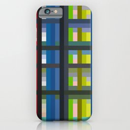 Colorful Imprisonment - Blue Green Striped Grid Pattern iPhone Case