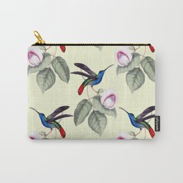 Purple and Pink Flowers with Green Leaves Pattern and Birds Carry-All Pouch