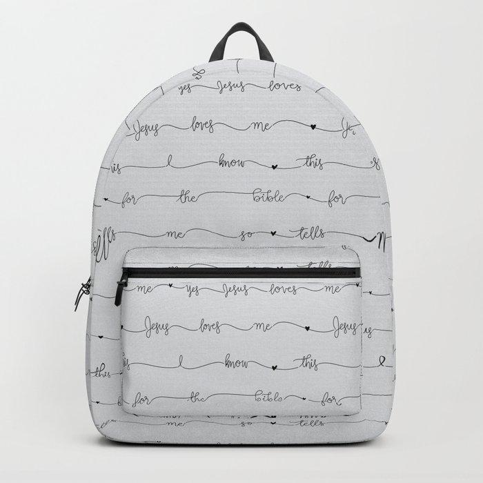 c1b97611cae3 Jesus Loves Me - grey handwritten lyrics Backpack by new_branch_studio