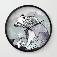 nordic Wall Clocks featuring Nordic Bears by Pencil Studio