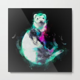 Painted Ferret Metal Print