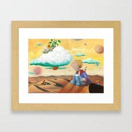 Little Prince with sunflower Framed Art Print