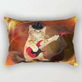 rocker cat in flames Rectangular Pillow