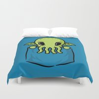 pocket Duvet Covers featuring Pocket Cthulhu by Mike Handy Art