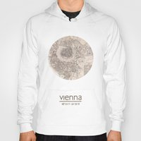 vienna Hoodies featuring VIENNA AUSTRIA - city poster - city map poster print by All City Posters