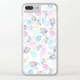Pink teal lavender hand painted watercolor bird floral Clear iPhone Case