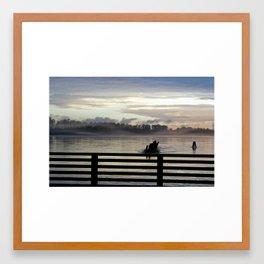 Dock on the Pitt River Framed Art Print