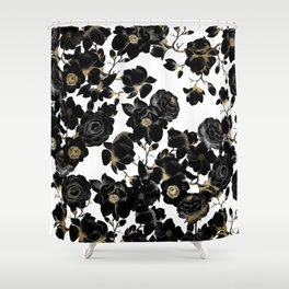 Modern Elegant Black White and Gold Floral Pattern Shower Curtain