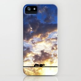 squirrel running over wire against sunset iPhone Case
