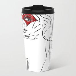 Masked Woman Metal Travel Mug