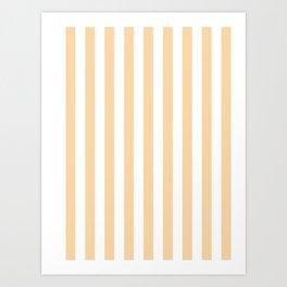 Narrow Vertical Stripes - White and Sunset Orange Art Print