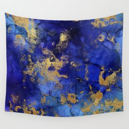 Gold And Blue Indigo Malachite Marble Wall Tapestry