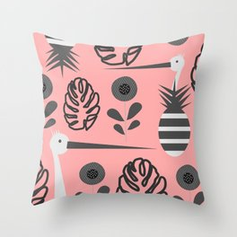 Stork and pineapples Throw Pillow