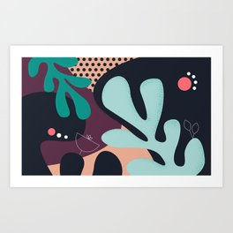 Floral Pattern Green Shades Art Print