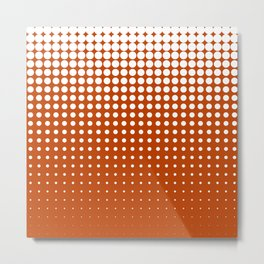 Cool modern techno shrinking polka dots white on mahogany Metal Print
