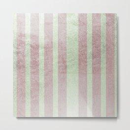 Pastel vintage green faux rose gold elegant stripes Metal Print