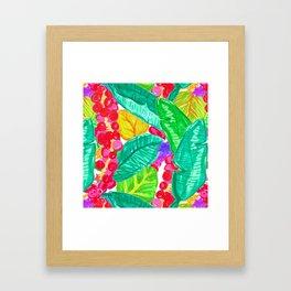 Illustrated Sea Grapes + Tropical Leaves Framed Art Print