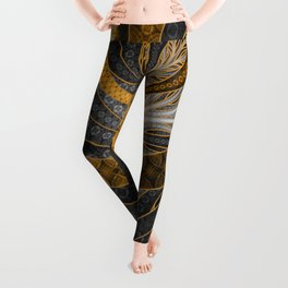 Banded Dragon Scales of Black, Gold, and Yellow Leggings
