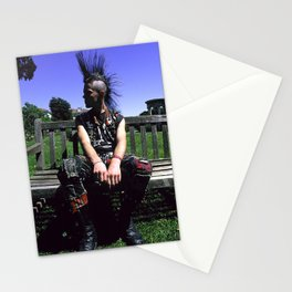 Punk Rock Musician Relaxing on Garden Bench Stationery Cards