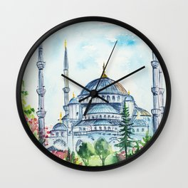 Istanbul architecture watercolor. Wall Clock