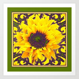 Moss Green Purple & Yellow Floral Garden Pattern Art Print