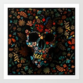 Flowery Skull Art Print