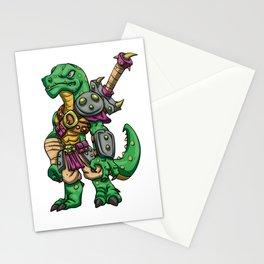 Lizard gladiator cartoon - dinosaur warrior illustration - tyrannosaurus character Stationery Cards