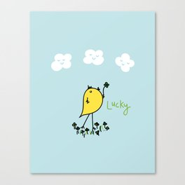 Chirp and Whistle Lucky Bird Canvas Print