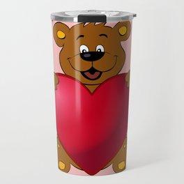 Happy teddybear with heart cartoon Travel Mug