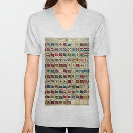 Vintage Naval Flags of The World Illustration Unisex V-Neck