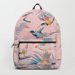 Pinky, Sunny Boho Birds / Pink, Blue, Yellow Backpack