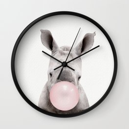 Bubble Gum Baby Rhino Wall Clock