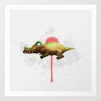 crocodile Art Prints featuring Crocodile by Fran Niño