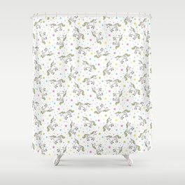 Unicorns and Stars - White and Rainbow scatter pattern Shower Curtain
