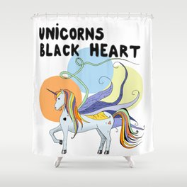 Unicorn's Black Heart Shower Curtain