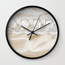 Bride lace - Luxury white floral elegant lace on cream silk fabric Wall Clock